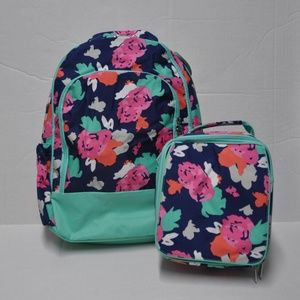 Girl's Floral Backpack & Lunch Box Set Navy Mint